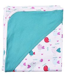 Kidsmode Organic Cotton Hooded Wrapper Multiprint - Blue And White