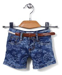 Poly Kids Flower Print Denim Shorts With Belt - Blue