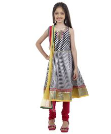 Kids Chakra Malti Salwar Kurta Set - Black & White