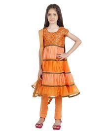 Kids Chakra Frill Salwar Kurta - Orange