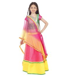 Kids Chakra Stylish Ghagra Choli Set - Green & Pink