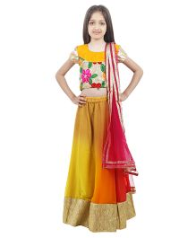 Kids Chakra Elegant Tikki Ghagra Choli Set - Orange
