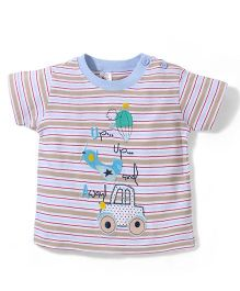 Poly Kids Car Print T-Shirt - Beige