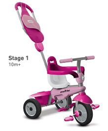 Smartrike Breeze GL Tricycle With Push Handle - Pink White