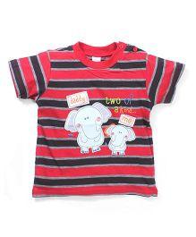 Poly Kids Elephant Print T-Shirt - Red & Black