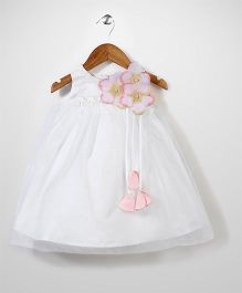 Beautiful Girl Flower Flared Dress - White