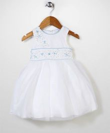 Beautiful Girl Flower Embroidery Party Dress - White