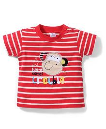 Poly Kids Monkey Print Striped T-Shirt - Red