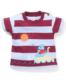 Poly Kids Cartoon Print T-Shirt - Maroon