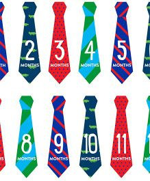Pearhead Necktie Milestone Stickers Multicolor - 12 Stickers