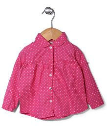 Miss Pretty Star Print Shirt With Front Button Closure - Dark Pink