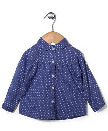 Miss Pretty Star Print Shirt With Front Button Closure - Blue