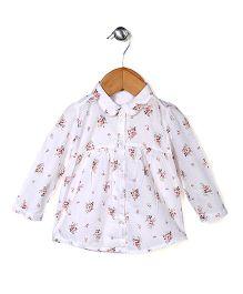 Miss Pretty Full Sleeves Leaf Print Shirt - White