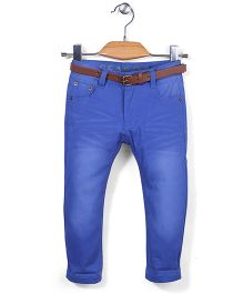 Quick Seven Washed Pants With Belt - Blue