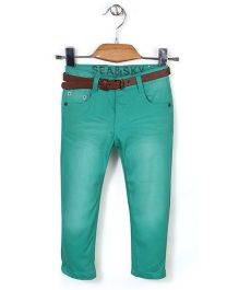 Quick Seven Washed Pants With Belt - Green