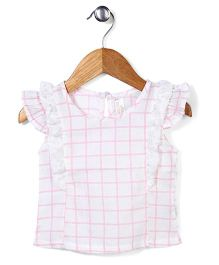 Miss Pretty Checkered Print Top - Pink & White