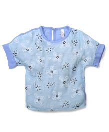 Miss Pretty Flower Print Top - Sky Blue
