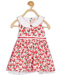 Baby League Sleeveless Strawberry Print Dress - Red And White
