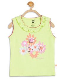 Baby League Sleeveless Daisy Print Sequins Embellished Top - Green