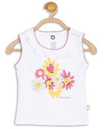 Baby League Sleeveless Daisy Print Sequins Embellished Top - Top