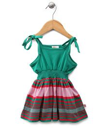 Baby League Singlet Stripes Dress - Pink Red Green
