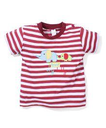 Poly Kids Elephant Print T-Shirt - Dark Red & White