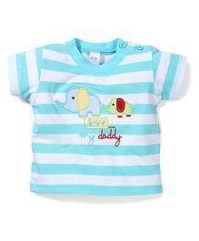 Poly Kids Elephant Print T-Shirt - Turquoise Blue