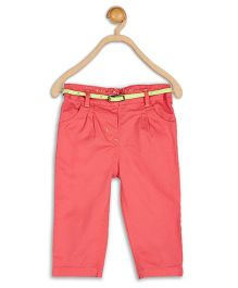 Baby League Pleated Pant With Belt - Coral Red