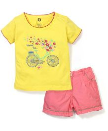 Baby League Half Sleeves Printed Top With Shorts - Yellow And Melon