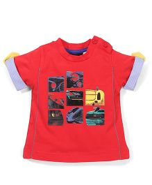 Poly Kids Vehicle Print T-Shirt - Red