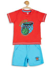 Baby League Half Sleeves Printed T-Shirt With Shorts - Blue And Red