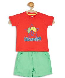 Baby League Half Sleeves Printed T-Shirt With Shorts - Red And Green