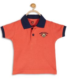 Baby League Cotton Tee With Twill Collar - Orange