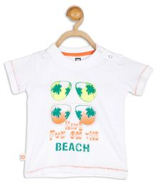 Baby League Half Sleeves Beach Print T-Shirt - White