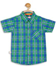Baby League Cotton Checks Shirt - Green And Blue