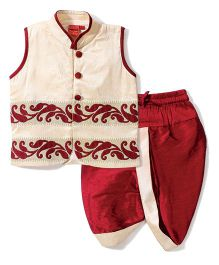 Ethnik's Neu Ron Embroidered Kurta & Dhoti Set - Cream & Maroon