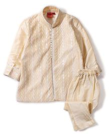 Ethniks Neu Ron Full Sleeves Self Design Kurta & Pajama Set - Cream