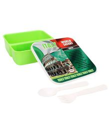 Jewel Printed Square Lunch Box - Green