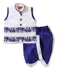 Ethnik's Neu Ron Embroidered Kurta & Dhoti Set - White & Royal Blue