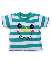Poly Kids Big Smile Print T-Shirt - Green & White