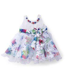 Bluebell Sleeveless Dress Bow Applique - White