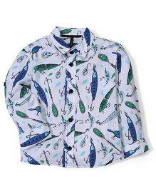 UCB Full Sleeves Shirt Animal Print - White
