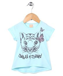 Miss Pretty Cat & Butterfly Print Top - Light Blue