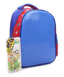 The Eed Star & Dot Print Design School Bag - Blue & Red
