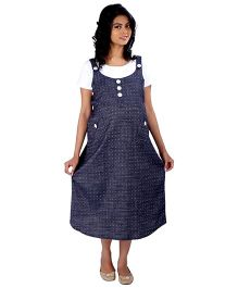 MomToBe Half Sleeves Maternity Dress - Blue and White