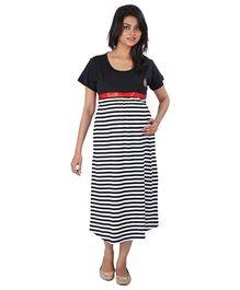 MomToBe Half Sleeves Maternity Dress Stripes Print - Black and White