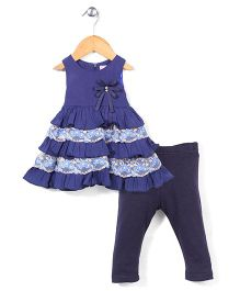 Miss Pretty Flower Print Dress & Leggings Set - Navy Blue