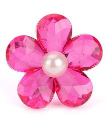 Sugarcart Fushia Crystal Flower With A Pearl Adjustable Finger Ring - Fuchsia Pink