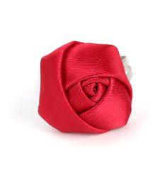Sugarcart Satin Rose On Adjustable Finger Ring - Maroon