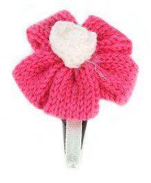 Sugarcart Tictac Clip Woolen Flower - Pink & Offwhite